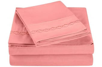 (Twin X-Large, Blossom) - Super Soft Light Weight, 100Percent Brushed Microfiber, Twin X-Large, Wrinkle Resistant, 3-Piece Sheet Set, Blossom with Cloud Embroidery