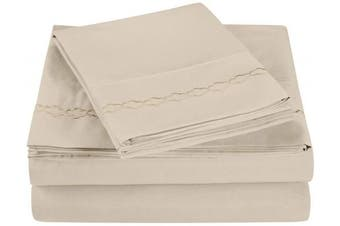 (Twin, Ivory) - Super Soft Light Weight, 100% Brushed Microfiber, Twin, Wrinkle Resistant, 3-Piece Sheet Set, Ivory with Cloud Embroidery