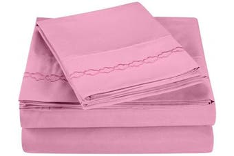 (King, Pink) - Super Soft Light Weight, 100% Brushed Microfiber, King, Wrinkle Resistant, 4-Piece Sheet Set, Pink with Cloud Embroidery