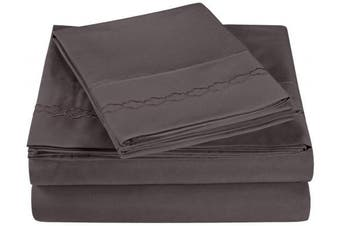 (Twin, Charcoal) - Super Soft Light Weight, 100% Brushed Microfiber, Twin, Wrinkle Resistant, 3-Piece Sheet Set, Charcoal with Cloud Embroidery