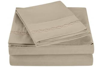 (King, Tan) - Super Soft Light Weight, 100% Brushed Microfiber, King, Wrinkle Resistant, 4-Piece Sheet Set, Tan with Cloud Embroidery