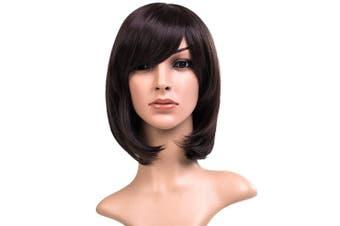 (Dark Brown) - AneShe 30cm Short Straight Hair Wig Anime Cosplay Costume Party Wigs (Dark Brown)