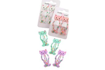 (2 Kitten Clips) - BellaMira Girls Hair Clips For Dress Up Make Up Costume Birthday - Butterfly Unicorn Floral Kitten - Claw Clips Clamps Accessories For Girls Kids (2 Kitten Clips)