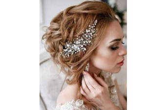 Simsly Bride Wedding Hair Comb Vine Crystal Headband Bridal Headpiece Wedding Hair Accessories Hair Piece Party for Women and Girls (Silver)