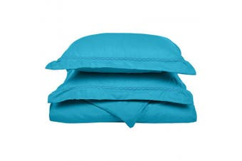 (Full/Queen, Aqua) - Super Soft Light Weight, 100% Brushed Microfiber, Full/Queen, Wrinkle Resistant, Aqua Duvet Cover Set with Cloud Embroidered Pillowshams in Gift Box