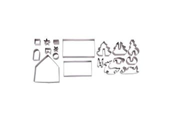 18 Piece 3D Christmas Scene Stainless Steel Cookie Cutters Gingerbread House Reindeer Snowman Sleigh Tree Baking Holiday DIY Decorating Parties Party Supplies Cookies Kitchen Utensils Accessories