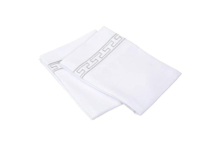 (Standard, White/Grey) - Super Soft Light Weight, 100% Brushed Microfiber 2-Piece Standard Pillowcases Set Wrinkle Resistant, White with Grey Regal Embroidery