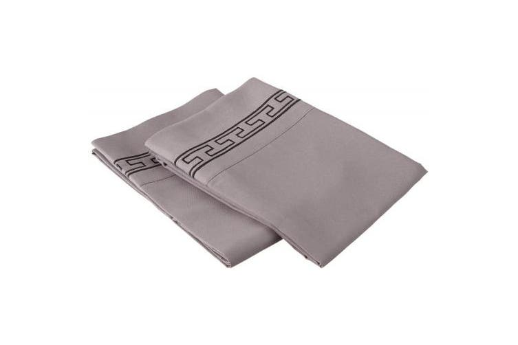 (Standard, Grey/Black) - Super Soft Light Weight, 100% Brushed Microfiber 2-Piece Standard Pillowcases Set Wrinkle Resistant, Grey with Black Regal Embroidery