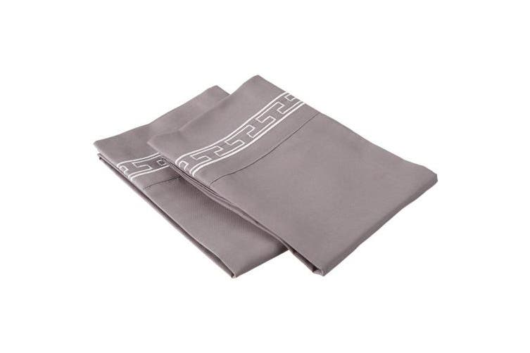 (King, Grey/White) - Super Soft Light Weight, 100% Brushed Microfiber 2-Piece King Pillowcases Set Wrinkle Resistant, Grey with White Regal Embroidery