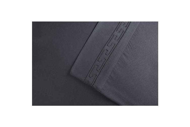 (King, Charcoal) - Super Soft Light Weight, 100% Brushed Microfiber 2-Piece King Pillowcases Set Wrinkle Resistant, Charcoal with Regal Embroidery