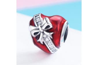(bow on heart) - CHENGMEN Red Heart Infinity Love Charms 925 Sterling Silver for Mother's Day Beads Fits European Bracelet