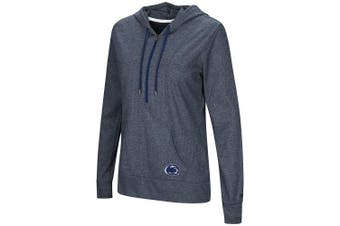 (X-Large, Penn State Nittany Lions-Heathered Navy) - Colosseum NCAA Women's -Sugar- Casual Waffle Knit 1/2 Zip Hoodie Pullover with Kangaroo Pocket and Thumb Holes