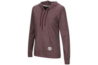 (X-Large, Texas A&M Aggies-Heathered Maroon) - Colosseum NCAA Women's -Sugar- Casual Waffle Knit 1/2 Zip Hoodie Pullover with Kangaroo Pocket and Thumb Holes