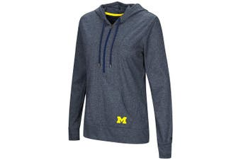 (Small, Michigan Wolverines-Heathered Navy) - Colosseum NCAA Women's -Sugar- Casual Waffle Knit 1/2 Zip Hoodie Pullover with Kangaroo Pocket and Thumb Holes