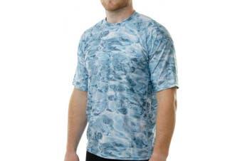 (Aqua Sky, X-Large) - Aqua Design Men Comfort Fit Rash Guard Short Sleeve Surf Swim Athletic UPF Sun Protection Clothing Rash Guard Top Shirt
