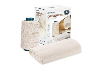 BESTONZON Grade 90 Cheesecloth with Twine, 4.2sqm Reusable 100% Unbleached Cotton Fabric Muslin Cloths with 91.44m Cooking String for Butter,Cheese Making, Food Straining, Cooking