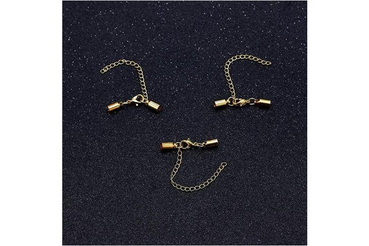 (3mm, Gold) - Forise 20pcs Leather Cord End Clasps Connectors with Lobster Clasp end caps Extender Chain for DIY Jewellery Making Necklaces Bracelets (Gold, 3mm)