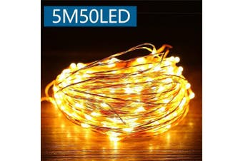 (Warm White, 5M_50LED) - Fairy Lights Battery Powered,Christmas Decorations Lights,led String Lights for Bedroom Decorative Wall Indoor/Outdoor Party,Garden,vases,Wedding,DIY Xmas Decorations (Warm White, 5M_50LED)