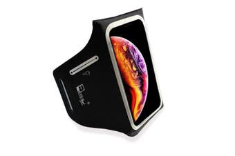 """(6.5"""" Screen) - Waterproof Armband for iPhone XS Max. Lightweight Running band with Extra Pockets for Keys, Cash and Bank Cards. Phone Arm Holder for Sports, Gym Workouts and Exercise (Small - Large Arms)"""