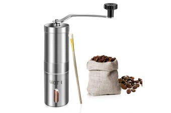Manual Coffee Grinder, WOT I Stainless Steel Coffee Grinder with Adjustable Ceramic Conical Burr, Ideal for Home, Office, and Travelling, AeroPress Compatible, Come With A Spices Brush and Storage Bag