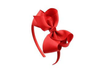 (Red) - Bow headband Large Bowknot Hair Hoop for Girls, Comfortable No Hurt Rib Fabric Headpiece Hair Band for Halloween Christmas Party Cosplay Costume Daily Decor Accessories(Red)