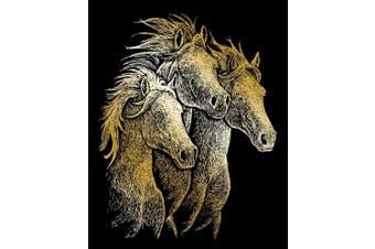 (Horses) - ROYAL BRUSH GOLF20 20cm X 25cm Gold 20cm x 25cm Engraving Art - Horses