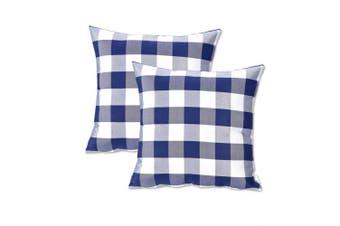 (60cm  x 60cm ,2Pcs, Plaids Navy&white) - NATUS WEAVER 2 Pieces Navy White Buffalo Checkers Plaids Square Throw Pillow Cover Decorative Cushion Shams Pillowcase for Couch,24 x 24