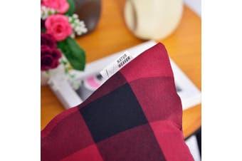 (60cm  x 60cm ,2Pcs, Plaids Red&black) - NATUS WEAVER 2 Pcs Red & Black Buffalo Cheque Plaid Throw Pillow Cover Decorative Cushion Shams Pillowcase for Floor,22 x 22