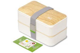 (Bamboo White) - BentoHeaven Leakproof Bento Box with Fun Lunch Notes, Cutlery, Chopsticks - Bamboo White