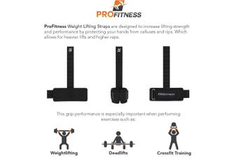 ProFitness Weight Lifting Straps: Heavy Duty Strap Improves Grip for Weightlifting, Powerlifting, Bodybuilding, Crossfit & Deadlift | Neoprene Padded Wrist Wraps Provides Support | for Men & Women