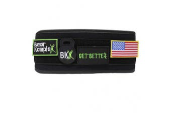 (Large 90cm  - 100cm  waist, Black - Patch Belt) - Bear KompleX 10cm Straight Weightlifting Belt for Powerlifting, Squats, Weight Training and More. Low Profile with Super Firm Back for Maximum Stability & Exceptional Comfort.