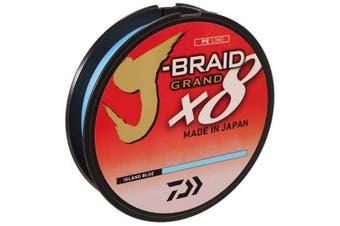 (Mono diameter equivalent -0.9kg, Island Blue) - Daiwa J-Braid 300M 8-Strand Woven Round Braid Line
