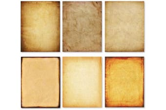 (60) - Stationery Paper - Old Fashion Aged Classic Antique & Vintage Assorted Design – Double-side Parchment Paper - Perfect for Certificate, Crafting, Invitations & other Art Projects - 22cm x 28cm (60)