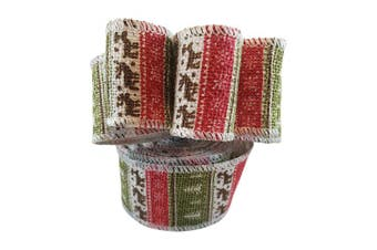 Wired Edge Burlap Ribbon with Christmas Holiday Deer Tree Snowflake Print - 6.4cm Wide, 10 Yards Long