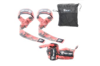 (Red Camo Combo Set) - Frost Giant Fitness: Wrist Wraps Set w/Carry Bag   Heavy Duty Hand and Wrist Support (Weightlifting, Crossfit, Powerlifting, Bodybuilding, Weight Training, Workout),
