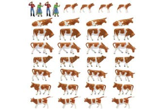 Farm Animals Figure Toys Set,AN8705 36PCS 1:87 Well Painted Model Cows Figures HO Scale Model Train Scenery Layout Miniature Landscape