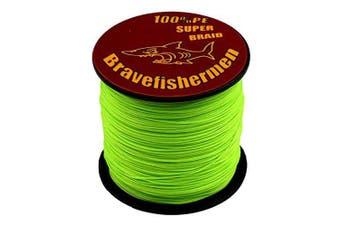 (100M, 50lb) - Bravefishermen Super Strong Pe Braided Fishing Line 2.7kg to 2.7kg Fluorescent Green