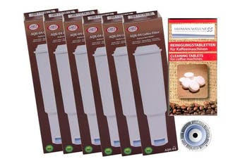 6 x Jura Claris White Filter Cartridge AquaC Rest Compatible + 10 CLEANING WAND