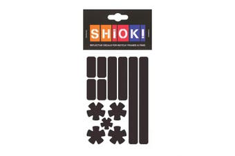 (Black) - SHIOK - Stars 'N Stripes Frame Reflective Sticker - Safety Decals for Bicycles
