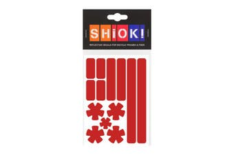 (Red) - SHIOK - Stars 'N Stripes Frame Reflective Sticker - Safety Decals for Bicycles