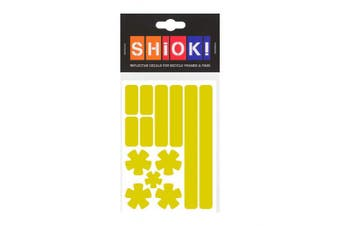 (Yellow) - SHIOK - Stars 'N Stripes Frame Reflective Sticker - Safety Decals for Bicycles