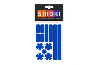(Blue) - SHIOK - Stars 'N Stripes Frame Reflective Sticker - Safety Decals for Bicycles