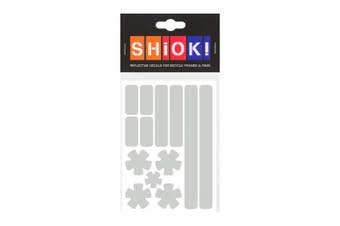 (Silver) - SHIOK - Stars 'N Stripes Frame Reflective Sticker - Safety Decals for Bicycles