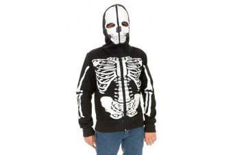 (Children's Costume Sweatshirt, Medium, Black/White) - Charades Skeleton Hoodie Children's Costume Sweatshirt, Black/White, Medium
