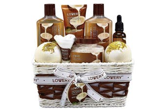 Bath and Body Gift Basket For Women – 9 Piece Set of Vanilla Coconut Home Spa Set, Includes Fragrant Lotions, Extra Large Bath Bombs, Coconut Oil, Luxurious Bath Towel and More