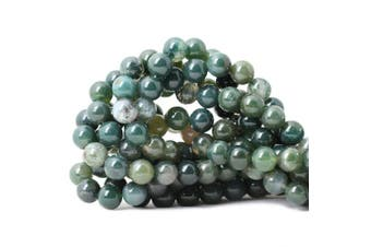 (10mm, Moss Agate) - CHEAVIAN 35PCS 10mm Natural Moss Agate Gemstone Round Loose Beads for Jewellery Making DIY 1 Strand 15""