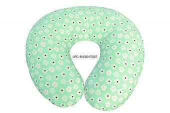 (50cm  x 46cm , Green Flower) - Comfortable Printed Cotton Nursing Pillow for Mom and Baby by All American Collection, New Portable, Soft and Light (50cm x 46cm , Green Flower)