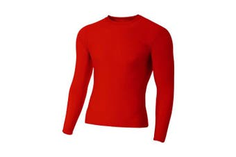 (Small, Scarlet) - A4 Men's Long Sleeve Compression Crew