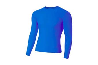(XX-Large, Royal) - A4 Men's Long Sleeve Compression Crew