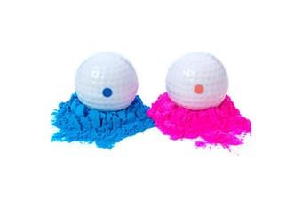Gender Reveal Golf Balls Exploding Golf Ball Set (1 Pink + 1 Blue + 2 Wooden Tees per Pack) Girl or Boy Baby Sex Reveal Ideas / Announcement Party   Maximum Powder for the Best Explosion of Smoke